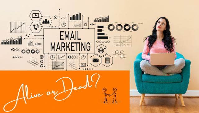 Email Marketing - Alive or Dead? A woman sitting on a chair with a laptop thinking